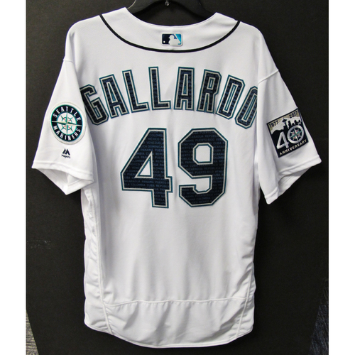 Photo of Mariners Care Hurricane Irma Relief - Yovani Gallardo Game-Used Marineros Jersey 9-9-2017 Size 48