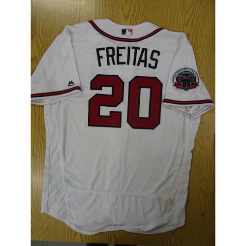 Photo of David Freitas Game-Used Los Bravos Jersey - Worn 9/17/17 at SunTrust Park