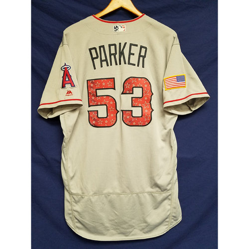 Photo of Blake Parker Game-Used Road Jersey - 7/4/2017