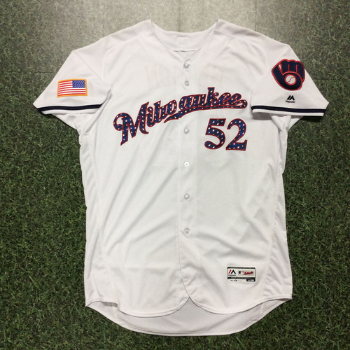 Photo of Jimmy Nelson 2017 Game-Used Stars and Stripes Jersey
