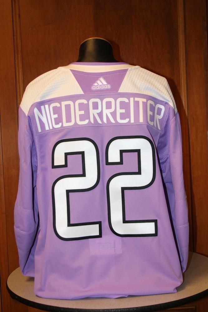 Nino Niederreiter Minnesota Wild 2017 Hockey Fights Cancer Night Warm-Up Jersey (Size 58)
