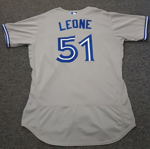 Photo of Authenticated Game Used Jersey - #51 Dominic Leone. September 30, 2017: 0.2 IP with 0 ER and 2 Ks. Size 48.