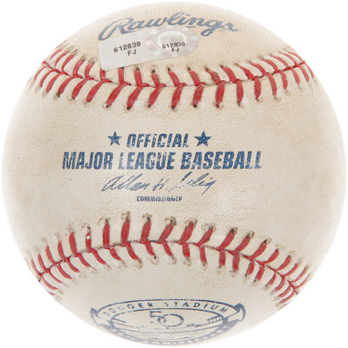 Photo of Game-Used Baseball from Bryce Harper's Major League Debut and 1st Career Hit Game