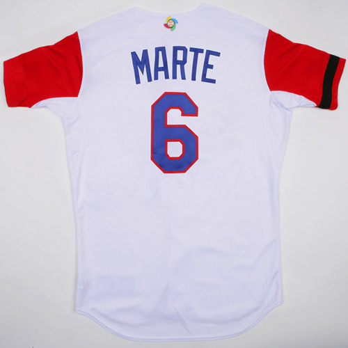 Photo of 2017 WBC Dominican Republic Game-Used Home Jersey, Marte #6