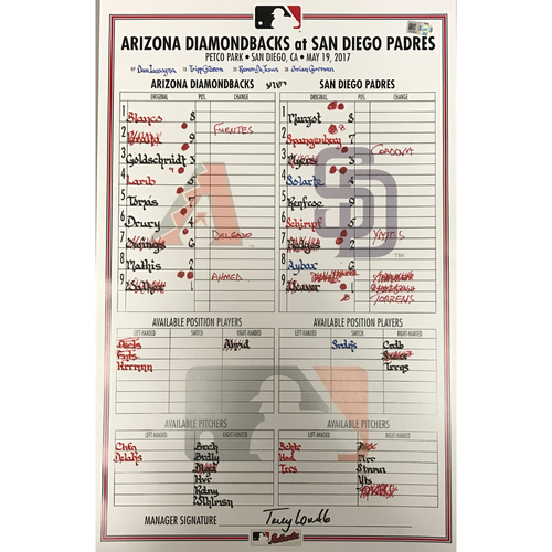 Photo of Game-Used Lineup-Card Dbacks @ Padres - 5/19/2017