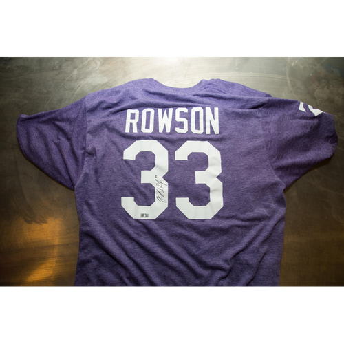 Photo of Autographed James Rowson Prince Night Batting Practice T-Shirt
