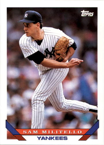 Photo of 1993 Topps #624 Sam Militello UER/Profile says drafted/in 1988, bio says/drafted in 1990