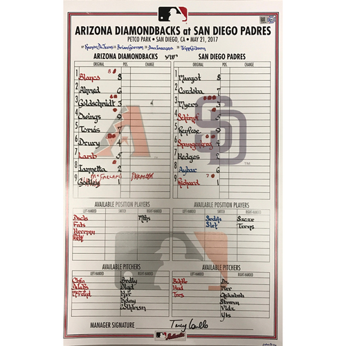 Photo of Game-Used Lineup-Card Dbacks @ Padres - 5/21/2017