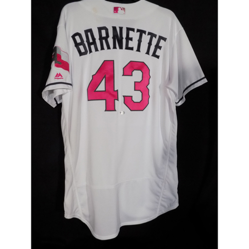 Photo of Game Worn Commemorative Mother's Day Jersey and Cap Worn By Tony Barnette