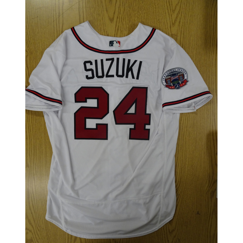 Photo of Kurt Suzuki Game-Used Los Bravos Jersey - Worn 9/17/17 at SunTrust Park