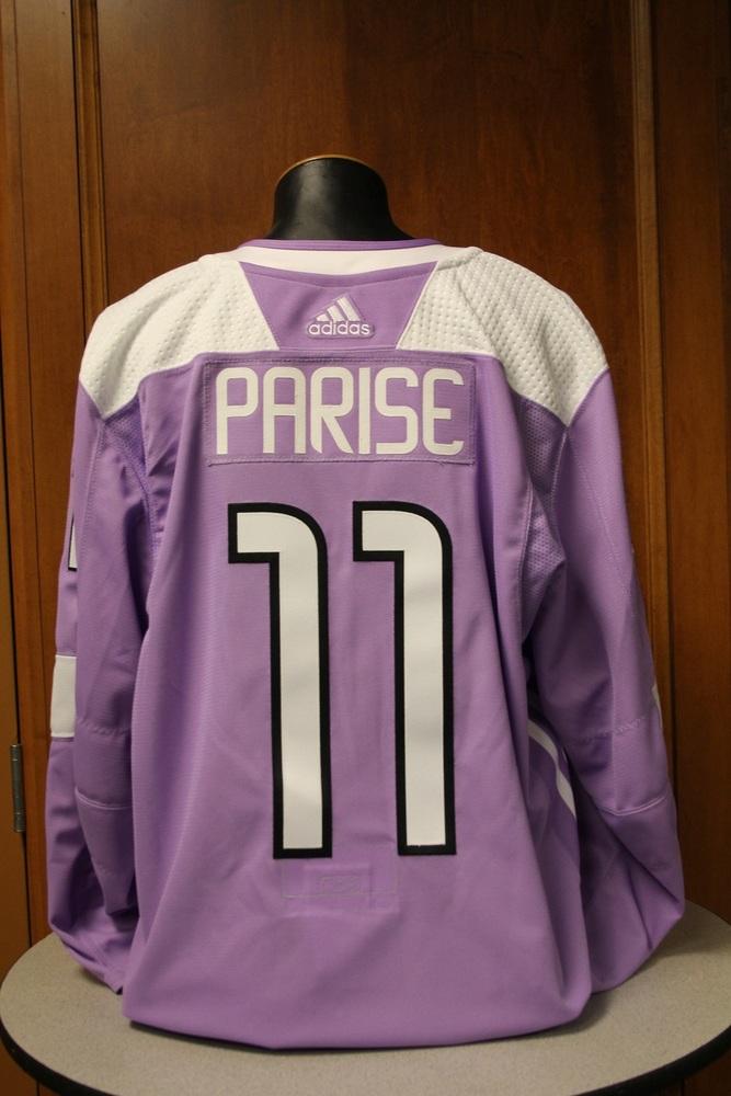 Zach Parise Minnesota Wild 2017 Hockey Fights Cancer Night Warm-Up Jersey (Size 56)