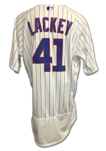 Photo of John Lackey 2017 Postseason Game-Used Jersey -- 10/11 vs. Nationals: NLDS Game 4 -- 10/17 vs. Dodgers: NLCS Game 3