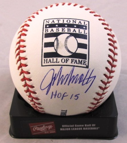 "Photo of John Smoltz ""HOF 15"" Autographed Hall of Fame Logo Baseball"