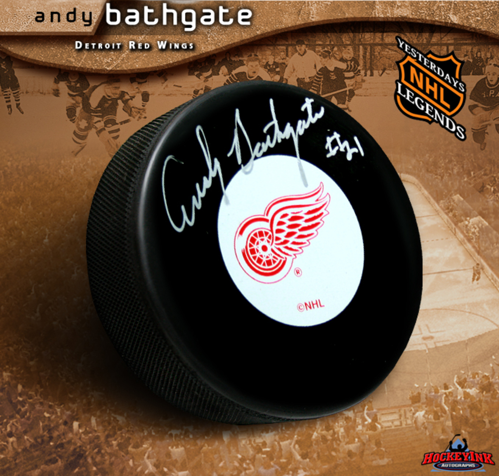 ANDY BATHGATE Signed Detroit Red Wings Puck