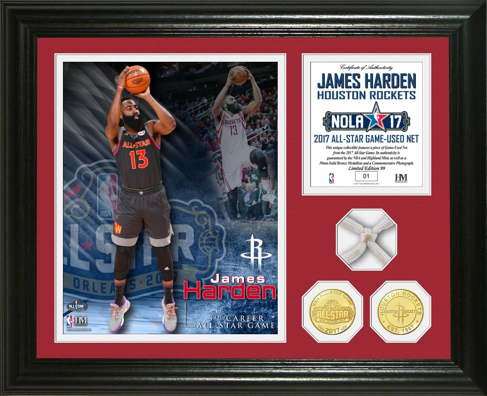 Serial #1! James Harden 2017 NBA All-Star Game Used Net Photo Mint