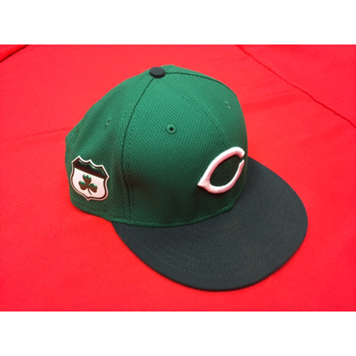 Photo of St. Patrick's Day -- Joey Votto -- Game-Used Hat -- CIN @ CLE on March 17, 2017