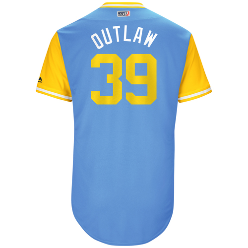 """Photo of Kevin """"Outlaw"""" Kiermaier Tampa Bay Rays Game-Used Players Weekend Jersey"""