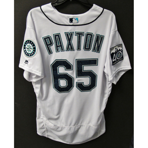 Photo of Mariners Care Hurricane Irma Relief - James Paxton Team-Issued Marineros Jersey 9-9-2017 Size 48