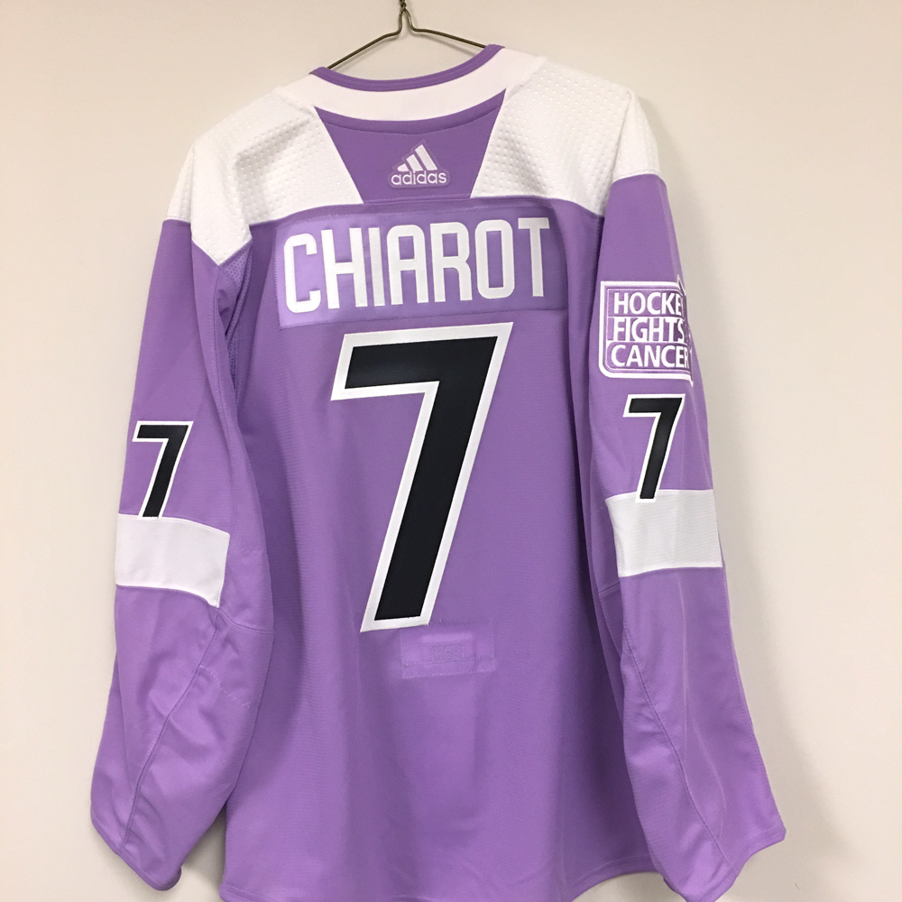 BEN CHIAROT Autographed Warm Up Worn Hockey Fights Cancer Jersey