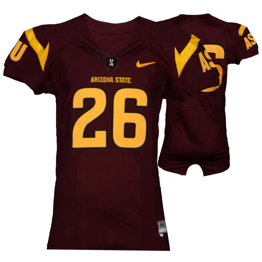 Arizona State Sun Devils Game-Used Maroon and Gold #26 Jersey Used During the 2011-2014 Seasons - Size 44