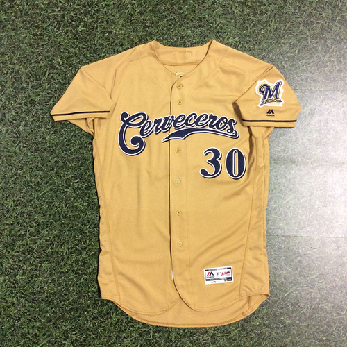 Photo of Craig Counsell 2017 Game-Used Cerveceros Jersey