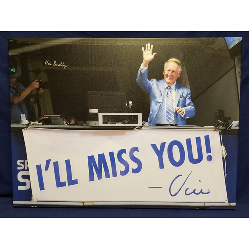 "Photo of Kershaw's Challenge: Vin Scully Autographed Canvas ""I'll Miss You"""