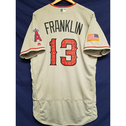 Photo of Nick Franklin Game-Used Road Jersey - 7/4/2017