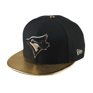 Faux Leather Visor Snapback Black/Gold by New Era