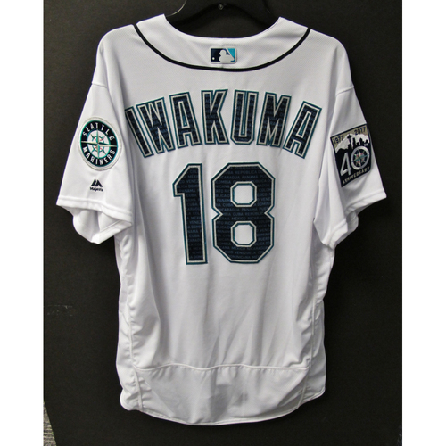 Photo of Mariners Care Hurricane Irma Relief - Hisashi Iwakuma Team-Issued Marineros Jersey 9-9-2017 Size 48