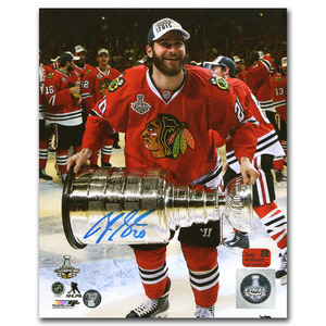 Brandon Saad Autographed Chicago Blackhawks 2015 Stanley Cup Champion 8X10 Photo