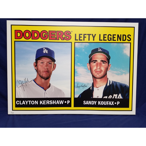 Photo of Kershaw's Challenge: Clayton Kershaw and Sandy Koufax Autographed Topps Card Canvas
