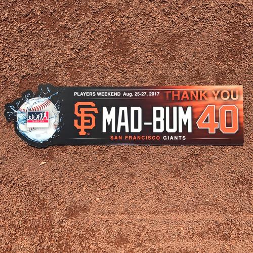 "Photo of San Francisco Giants - Players Weekend - Nickname Locker Tags - Madison Bumgarner - ""Mad-Bum"""