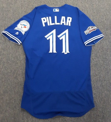 Authenticated Game Used Postseason Jersey - #11 Kevin Pillar (October 18 and 19, 2016: ALCS Games 4 and 5). Pillar went 0-for-3 with a Sac Fly RBI in Game 4 and 0-for-3 in Game 5. Size 44.