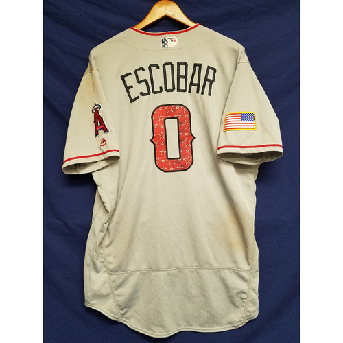Photo of Yunel Escobar Game-Used Road Jersey - 7/4/2017