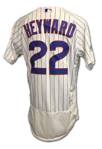 Photo of Jason Heyward 2017 Postseason Game-Used Jersey -- 10/11 vs. Nationals: NLDS Game 4 -- 10/17 vs. Dodgers: NLCS Game 3