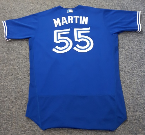 Photo of Authenticated Game Used Jersey - #55 Russell Martin. July 29, 2017: 0-for-1. Size 46.