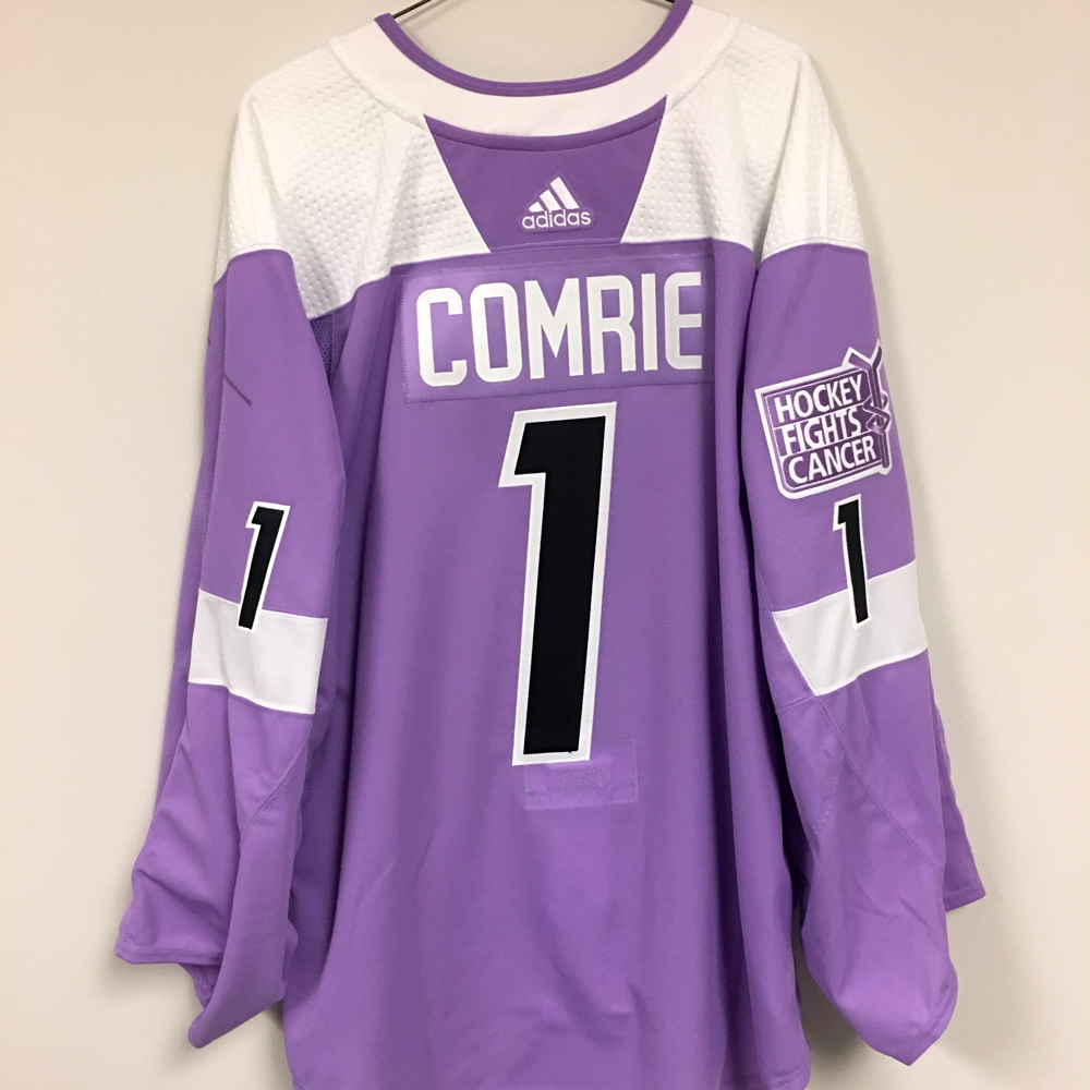 ERIC COMRIE Autographed Warm Up Worn Hockey Fights Cancer Jersey