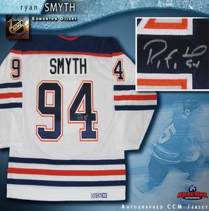 RYAN SMYTH Signed Edmonton Oilers White CCM Jersey