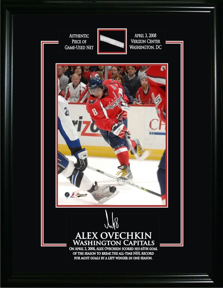 Alexander Ovechkin - Framed 8x10 Etched Signature - Washington Capitals & Game Net from 65th Goal