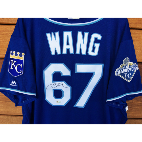 Photo of Chien-Ming Wang Autographed Jersey (Blue) - Size 50