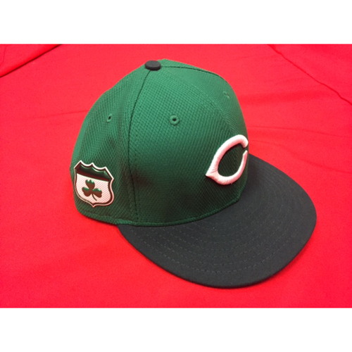 Photo of St. Patrick's Day -- Bronson Arroyo -- Game-Used Hat, Autographed -- CIN @ CLE on March 17, 2017