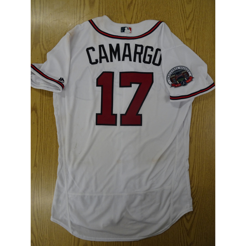 Photo of Johan Camargo Game-Used Los Bravos Jersey - Worn 9/17/17 at SunTrust Park