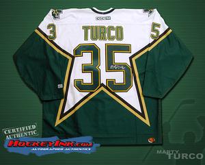 MARTY TURCO Signed Dallas Stars White CCM Jersey