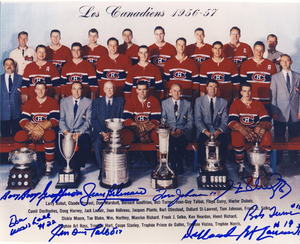 1956-57 Montreal Canadiens Stanley Cup Champions 8x10 Team Photo *8 AUTOGRAPHS* *BELIVEAU, GEOFFRION, H.RICHARD, ETC*