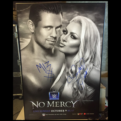 Photo of The Miz & Maryse SIGNED Framed WWE No Mercy 2016 Poster