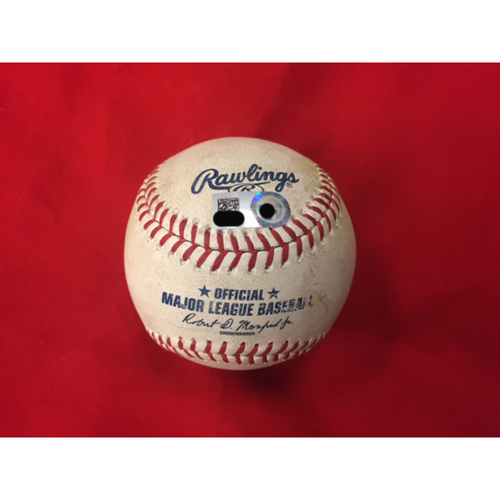 Photo of Christian Arroyo -- First Career Double -- Game-Used Baseball from SF vs. CIN on May 7, 2017