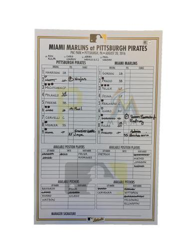 Photo of Game-Used Lineup Card from Pirates vs. Marlins on 8/20/16 - Ichiro Passes Kaline on MLB All-Time Hit List
