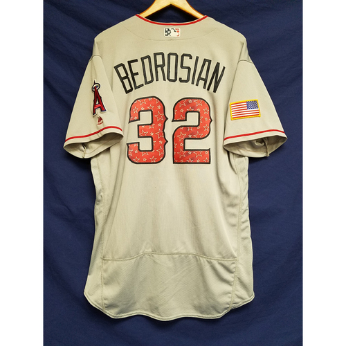 Photo of Cam Bedrosian Game-Used Road Jersey - 7/4/2017