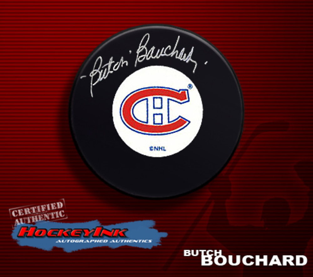 BUTCH BOUCHARD Signed Montreal Canadiens Puck
