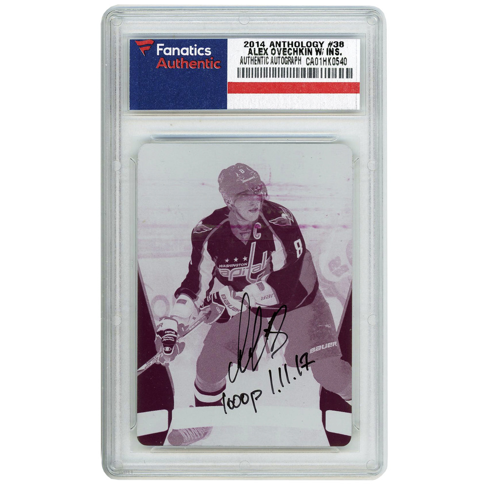 Alexander Ovechkin Washington Capitals Autographed 2014-15 Panini Anthology 1/1 Magenta Printing Plate #38 Card with 1000 P. 1.11.17 Inscription